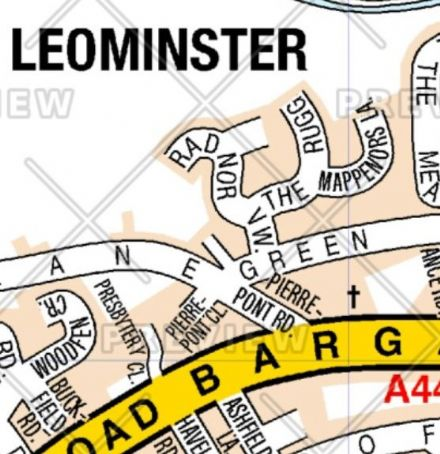 Leominster A Z Street Wall Map